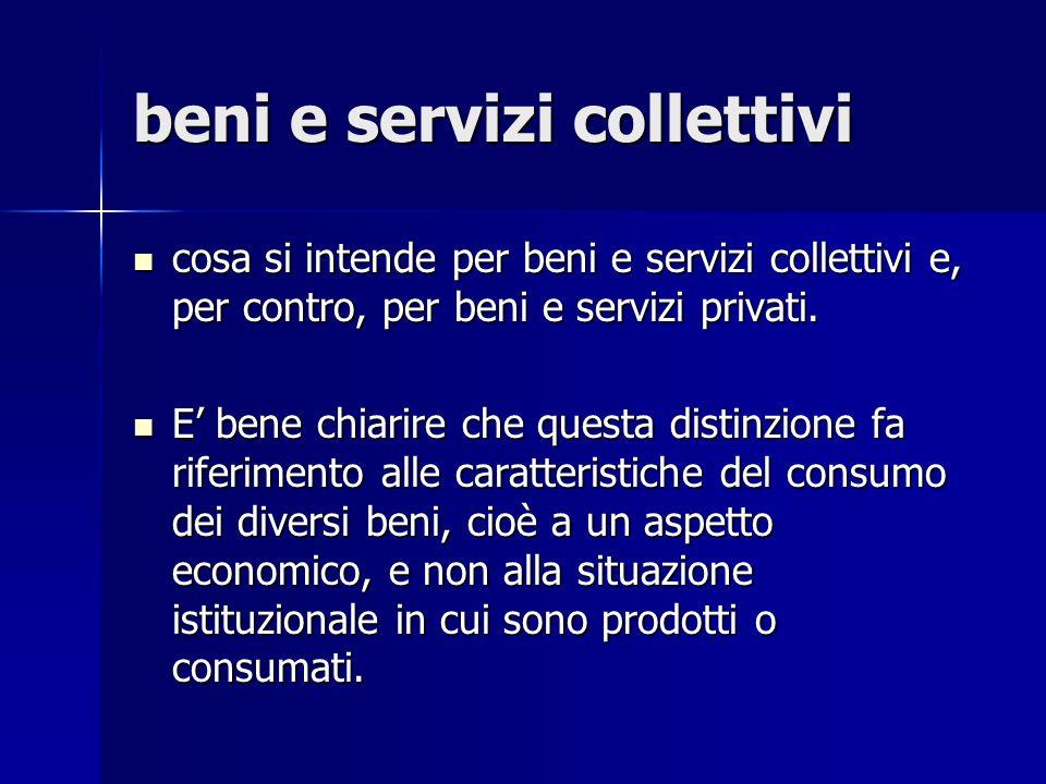 beni e servizi collettivi cosa si intende per beni e servizi collettivi e, per contro, per beni e servizi privati. cosa si intende per beni e servizi
