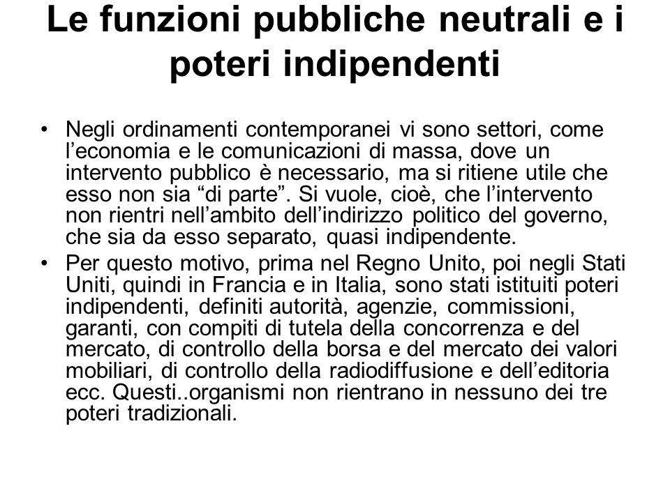 Le funzioni pubbliche neutrali e i poteri indipendenti Negli ordinamenti contemporanei vi sono settori, come leconomia e le comunicazioni di massa, do