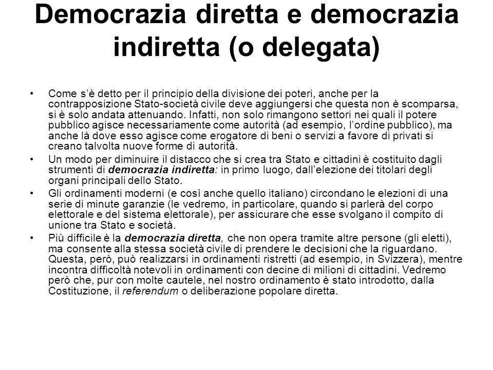 Democrazia diretta e democrazia indiretta (o delegata) Come sè detto per il principio della divisione dei poteri, anche per la contrapposizione Stato-