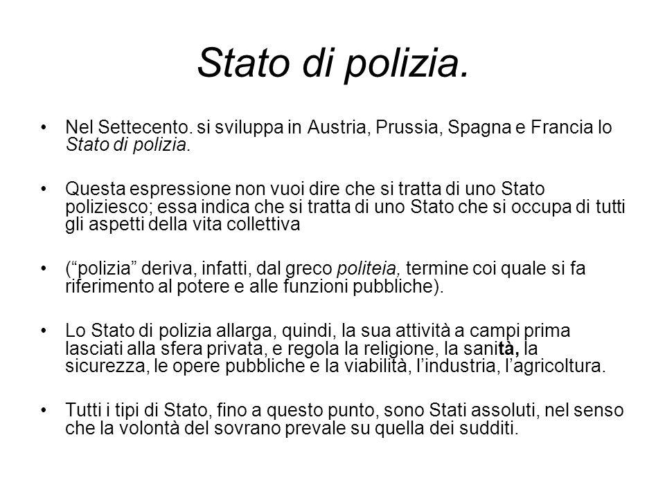 Stato di polizia. Nel Settecento. si sviluppa in Austria, Prussia, Spagna e Francia lo Stato di polizia. Questa espressione non vuoi dire che si tratt