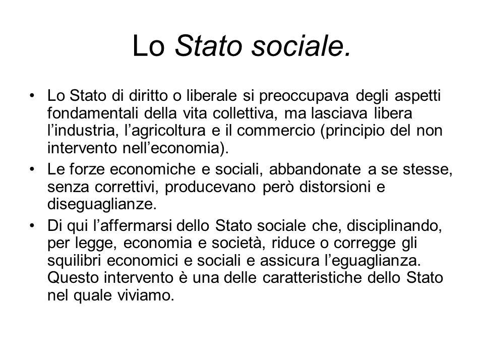 Lo Stato sociale. Lo Stato di diritto o liberale si preoccupava degli aspetti fondamentali della vita collettiva, ma lasciava libera lindustria, lagri