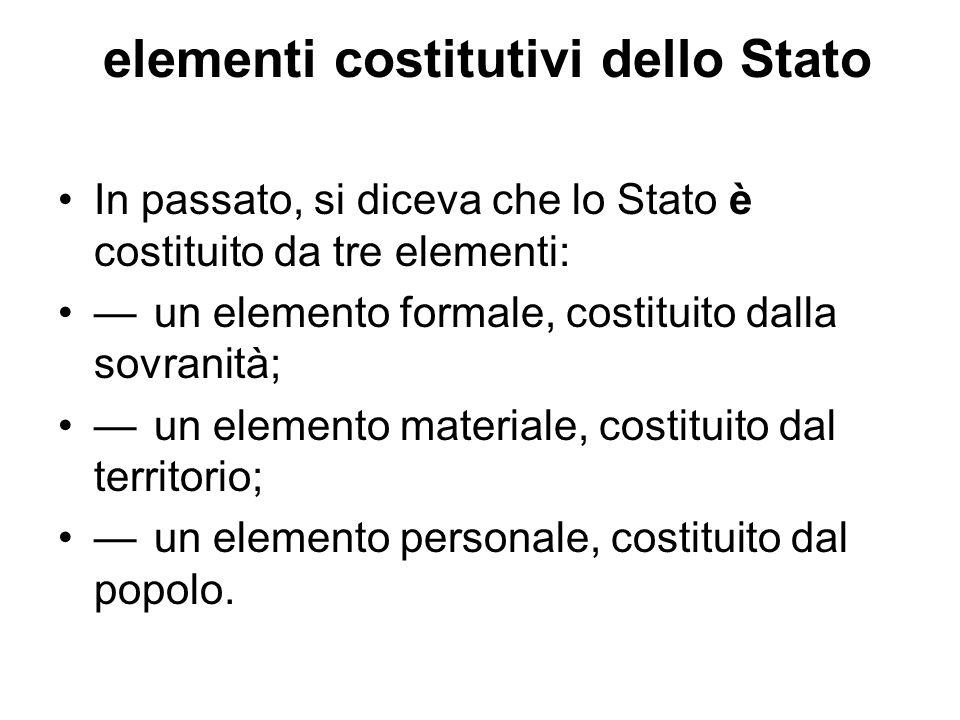 elementi costitutivi dello Stato In passato, si diceva che lo Stato è costituito da tre elementi: un elemento formale, costituito dalla sovranità; un