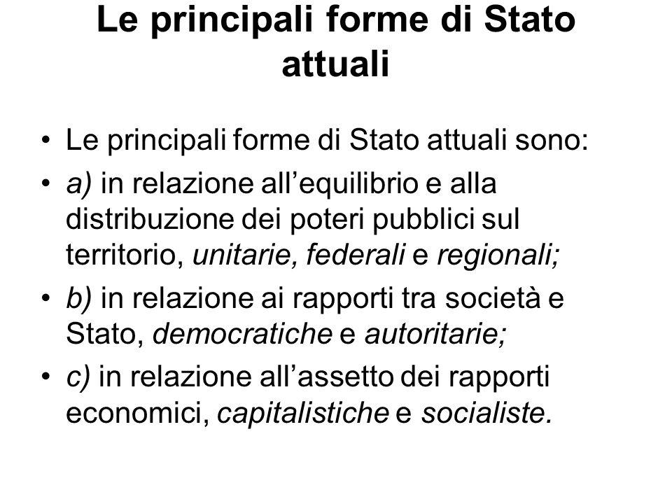 Le principali forme di Stato attuali Le principali forme di Stato attuali sono: a) in relazione allequilibrio e alla distribuzione dei poteri pubblici