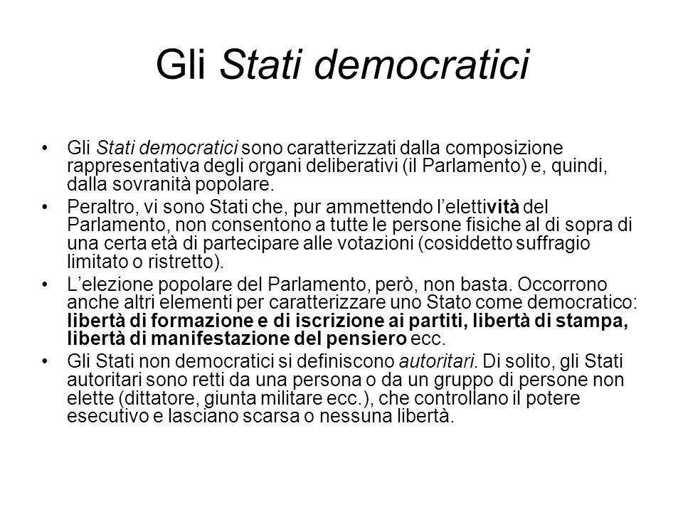 Gli Stati democratici Gli Stati democratici sono caratterizzati dalla composizione rappresentativa degli organi deliberativi (il Parlamento) e, quindi