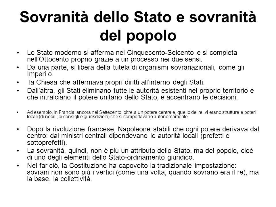 Sovranità dello Stato e sovranità del popolo Lo Stato moderno si afferma nel Cinquecento-Seicento e si completa nellOttocento proprio grazie a un proc