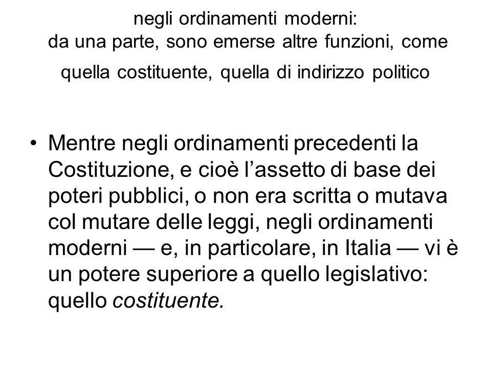 Il potere costituente si aggiunge ai poteri tradizionali (legislativo, esecutivo, giudiziario)..