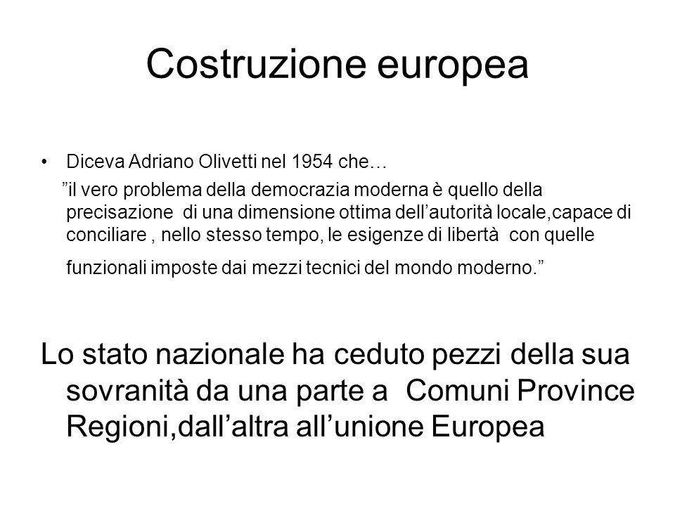 Diceva Adriano Olivetti nel 1954 che… il vero problema della democrazia moderna è quello della precisazione di una dimensione ottima dellautorità locale,capace di conciliare, nello stesso tempo, le esigenze di libertà con quelle funzionali imposte dai mezzi tecnici del mondo moderno.
