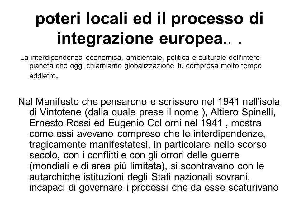 poteri locali ed il processo di integrazione europea...