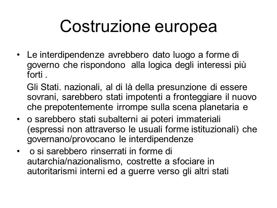 Costruzione europea Le interdipendenze avrebbero dato luogo a forme di governo che rispondono alla logica degli interessi più forti.