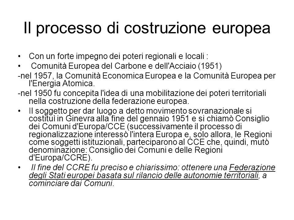 Il processo di costruzione europea Con un forte impegno dei poteri regionali e locali : Comunità Europea del Carbone e dell Acciaio (1951) -nel 1957, la Comunità Economica Europea e la Comunità Europea per l Energia Atomica.