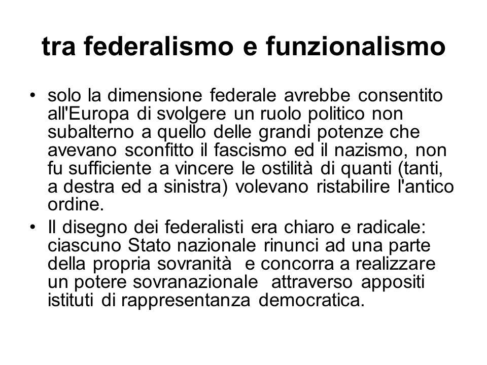 tra federalismo e funzionalismo solo la dimensione federale avrebbe consentito all Europa di svolgere un ruolo politico non subalterno a quello delle grandi potenze che avevano sconfitto il fascismo ed il nazismo, non fu sufficiente a vincere le ostilità di quanti (tanti, a destra ed a sinistra) volevano ristabilire l antico ordine.