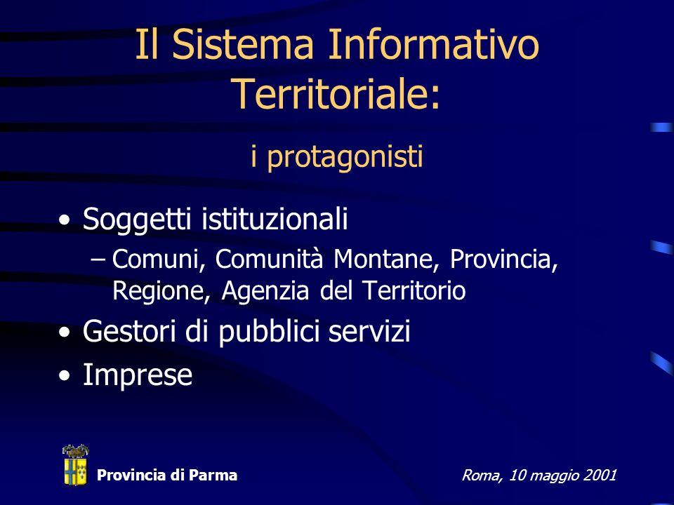 Provincia di ParmaRoma, 10 maggio 2001 Il Sistema Informativo Territoriale: i protagonisti Soggetti istituzionali –Comuni, Comunità Montane, Provincia, Regione, Agenzia del Territorio Gestori di pubblici servizi Imprese
