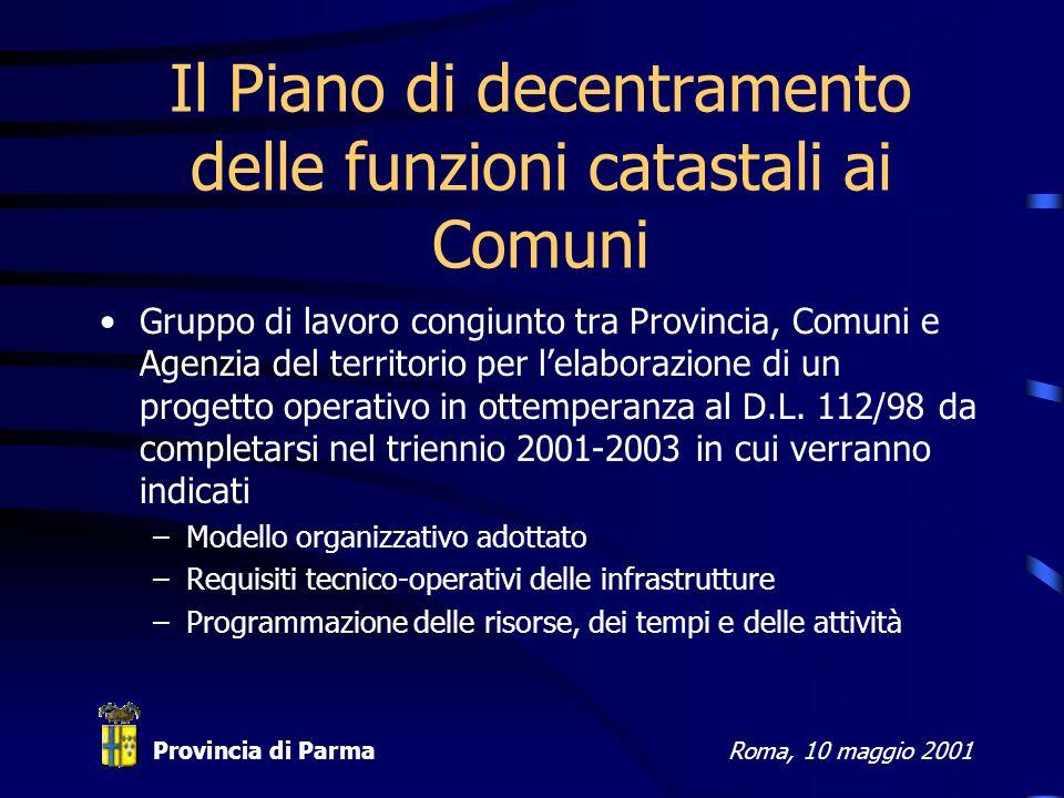 Provincia di ParmaRoma, 10 maggio 2001 Il Piano di decentramento delle funzioni catastali ai Comuni Gruppo di lavoro congiunto tra Provincia, Comuni e Agenzia del territorio per lelaborazione di un progetto operativo in ottemperanza al D.L.