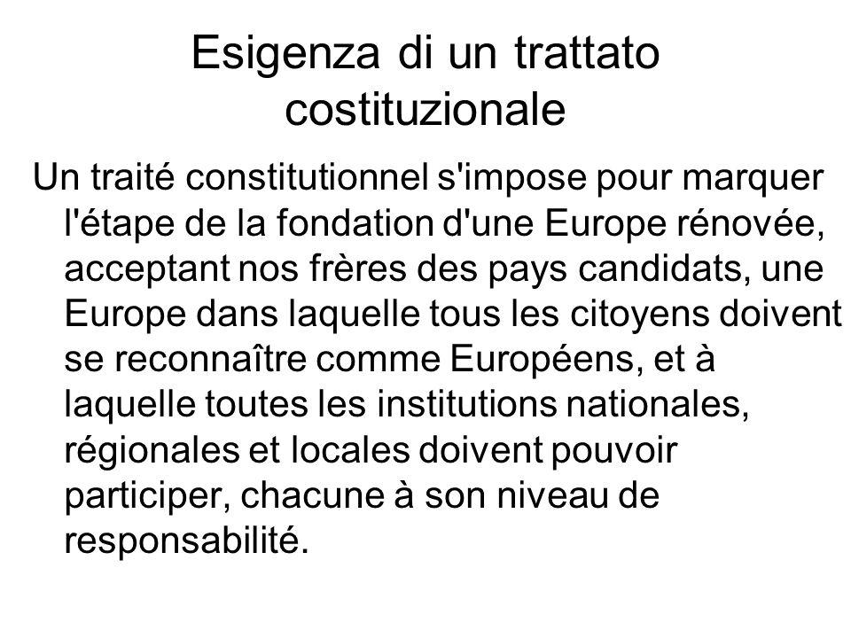 Esigenza di un trattato costituzionale Un traité constitutionnel s'impose pour marquer l'étape de la fondation d'une Europe rénovée, acceptant nos frè