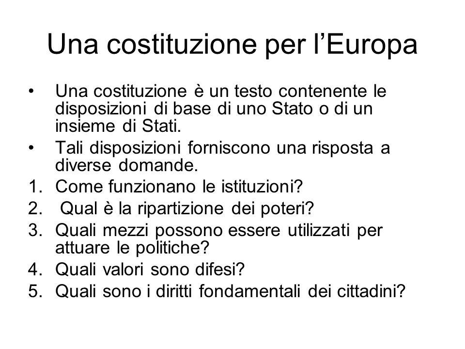 Una costituzione per lEuropa Una costituzione è un testo contenente le disposizioni di base di uno Stato o di un insieme di Stati. Tali disposizioni f