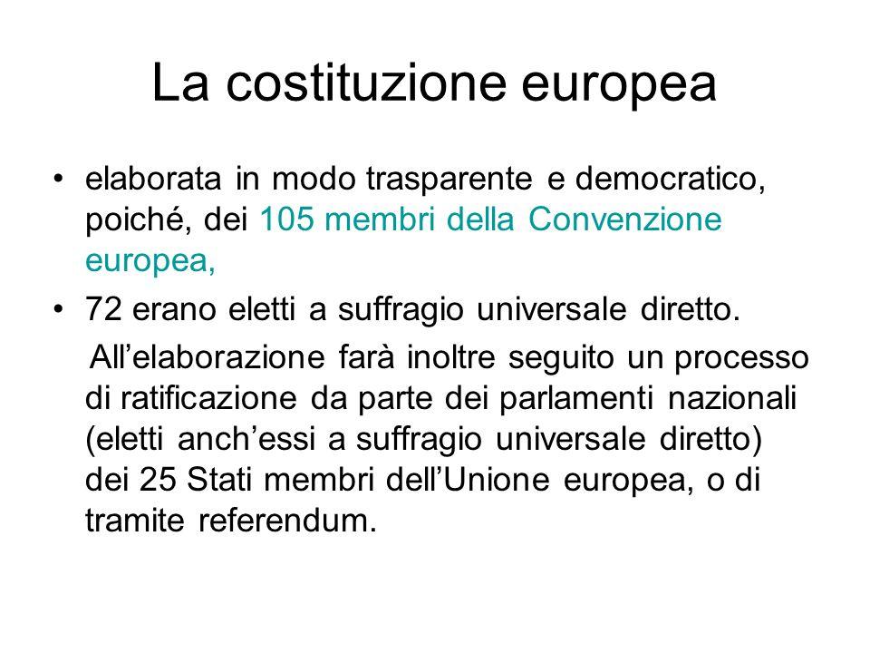 La costituzione europea elaborata in modo trasparente e democratico, poiché, dei 105 membri della Convenzione europea, 72 erano eletti a suffragio uni