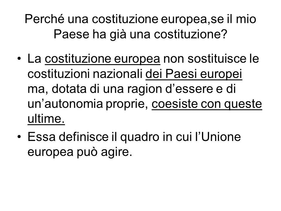 Perché una costituzione europea,se il mio Paese ha già una costituzione? La costituzione europea non sostituisce le costituzioni nazionali dei Paesi e