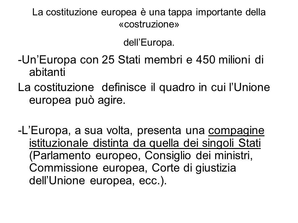 La costituzione europea è una tappa importante della «costruzione» dellEuropa. -UnEuropa con 25 Stati membri e 450 milioni di abitanti La costituzione