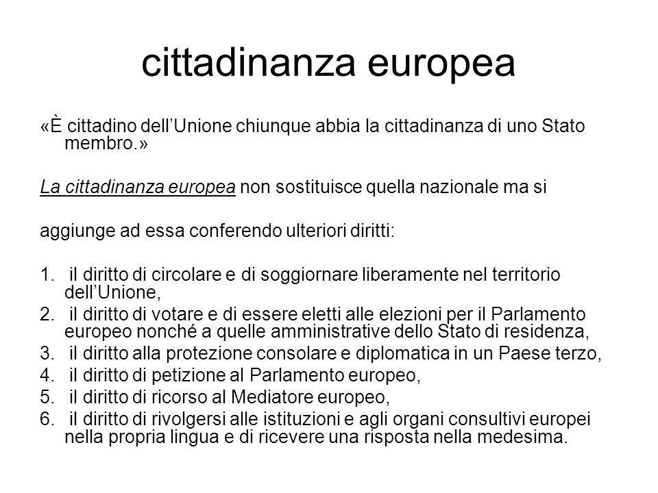 cittadinanza europea «È cittadino dellUnione chiunque abbia la cittadinanza di uno Stato membro.» La cittadinanza europea non sostituisce quella nazio