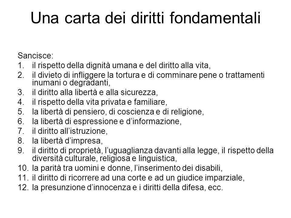 Una carta dei diritti fondamentali Sancisce: 1.il rispetto della dignità umana e del diritto alla vita, 2.il divieto di infliggere la tortura e di com