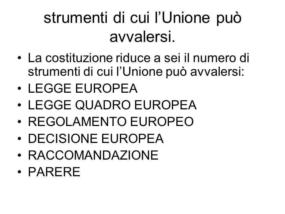 strumenti di cui lUnione può avvalersi. La costituzione riduce a sei il numero di strumenti di cui lUnione può avvalersi: LEGGE EUROPEA LEGGE QUADRO E