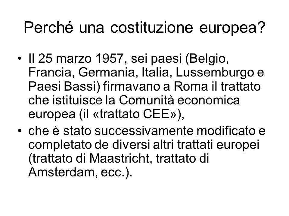 Perché una costituzione europea? Il 25 marzo 1957, sei paesi (Belgio, Francia, Germania, Italia, Lussemburgo e Paesi Bassi) firmavano a Roma il tratta