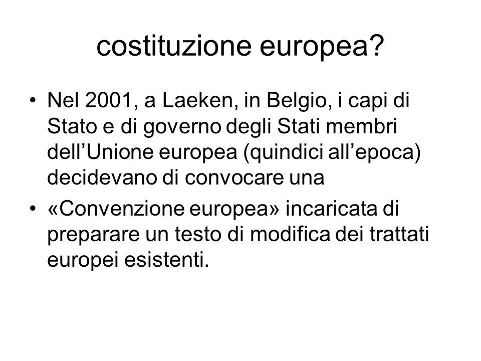 costituzione europea? Nel 2001, a Laeken, in Belgio, i capi di Stato e di governo degli Stati membri dellUnione europea (quindici allepoca) decidevano