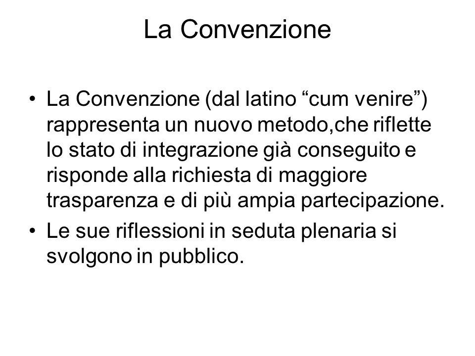 La Convenzione La Convenzione (dal latino cum venire) rappresenta un nuovo metodo,che riflette lo stato di integrazione già conseguito e risponde alla