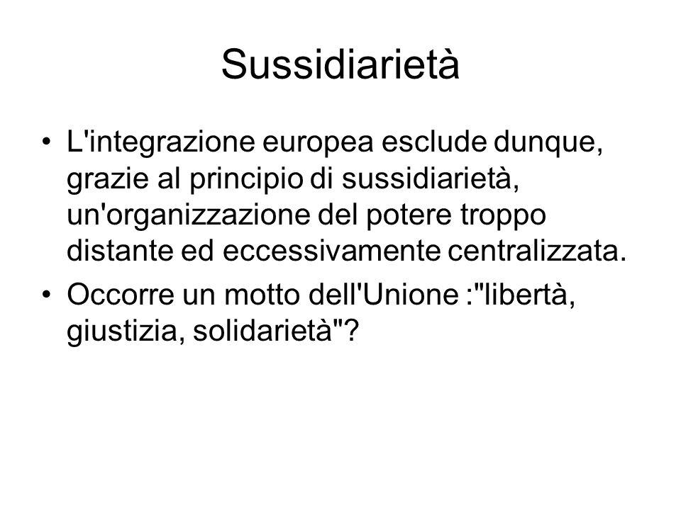 Sussidiarietà L'integrazione europea esclude dunque, grazie al principio di sussidiarietà, un'organizzazione del potere troppo distante ed eccessivame