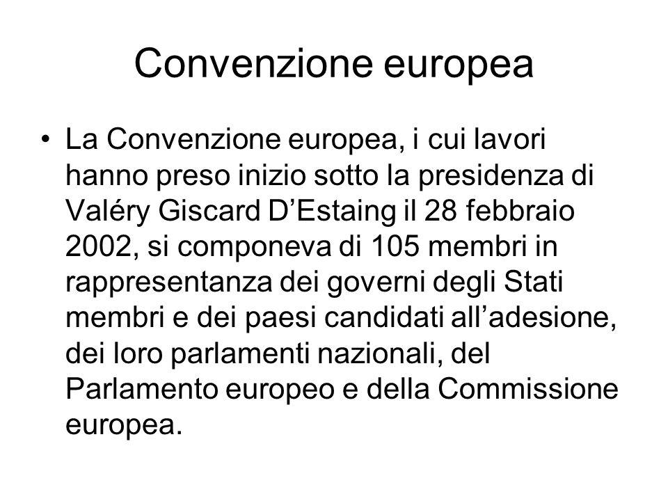 Convenzione europea La Convenzione europea, i cui lavori hanno preso inizio sotto la presidenza di Valéry Giscard DEstaing il 28 febbraio 2002, si com