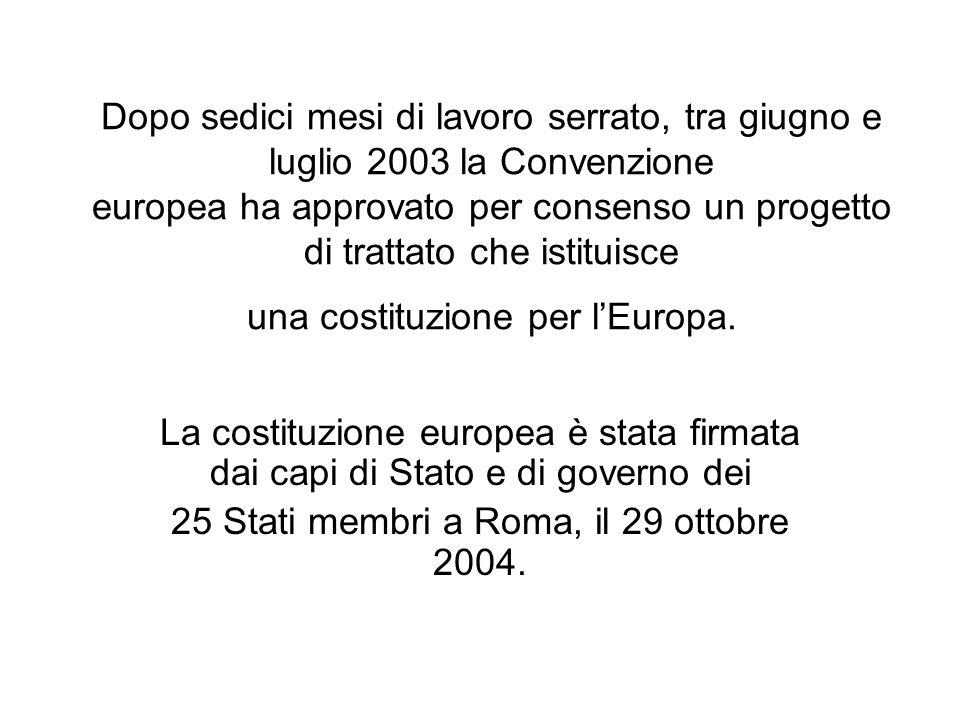 Dopo sedici mesi di lavoro serrato, tra giugno e luglio 2003 la Convenzione europea ha approvato per consenso un progetto di trattato che istituisce u