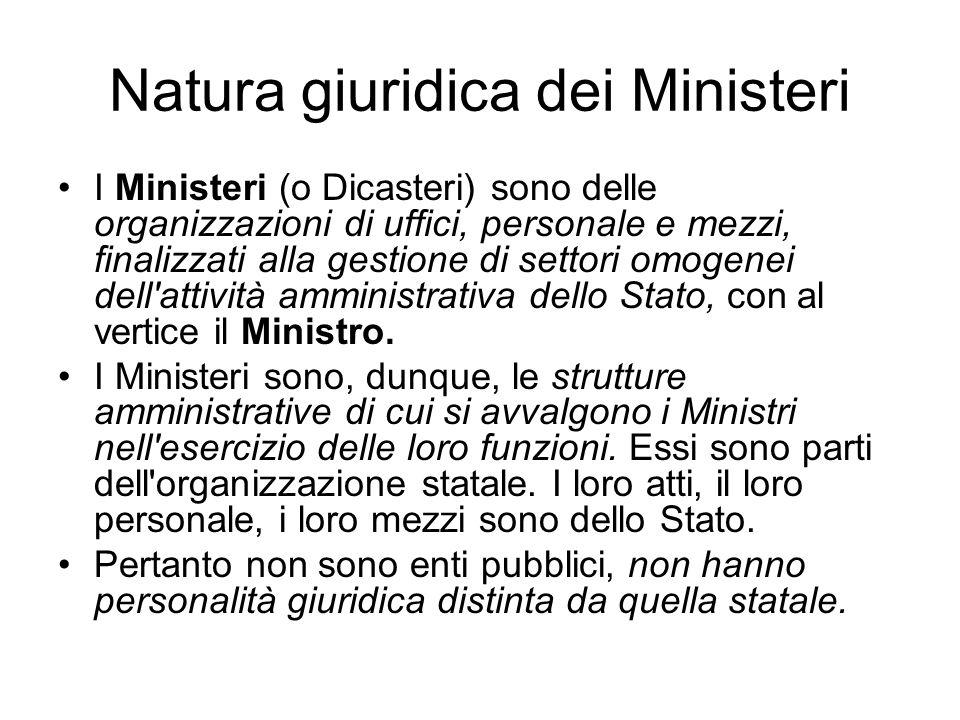 Natura giuridica dei Ministeri I Ministeri (o Dicasteri) sono delle organizzazioni di uffici, personale e mezzi, finalizzati alla gestione di settori