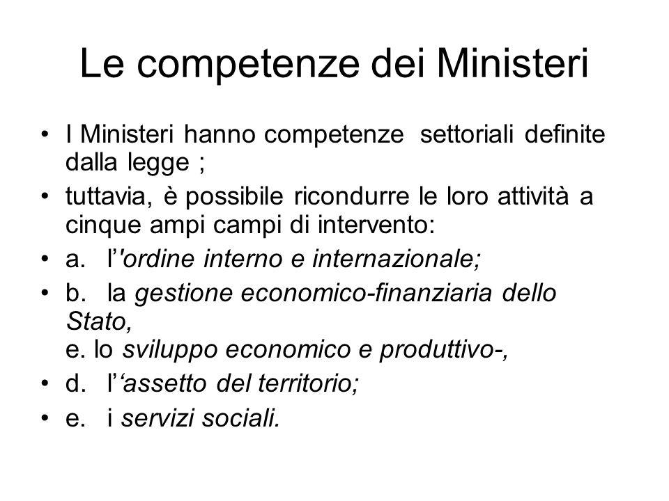 Le competenze dei Ministeri I Ministeri hanno competenze settoriali definite dalla legge ; tuttavia, è possibile ricondurre le loro attività a cinque