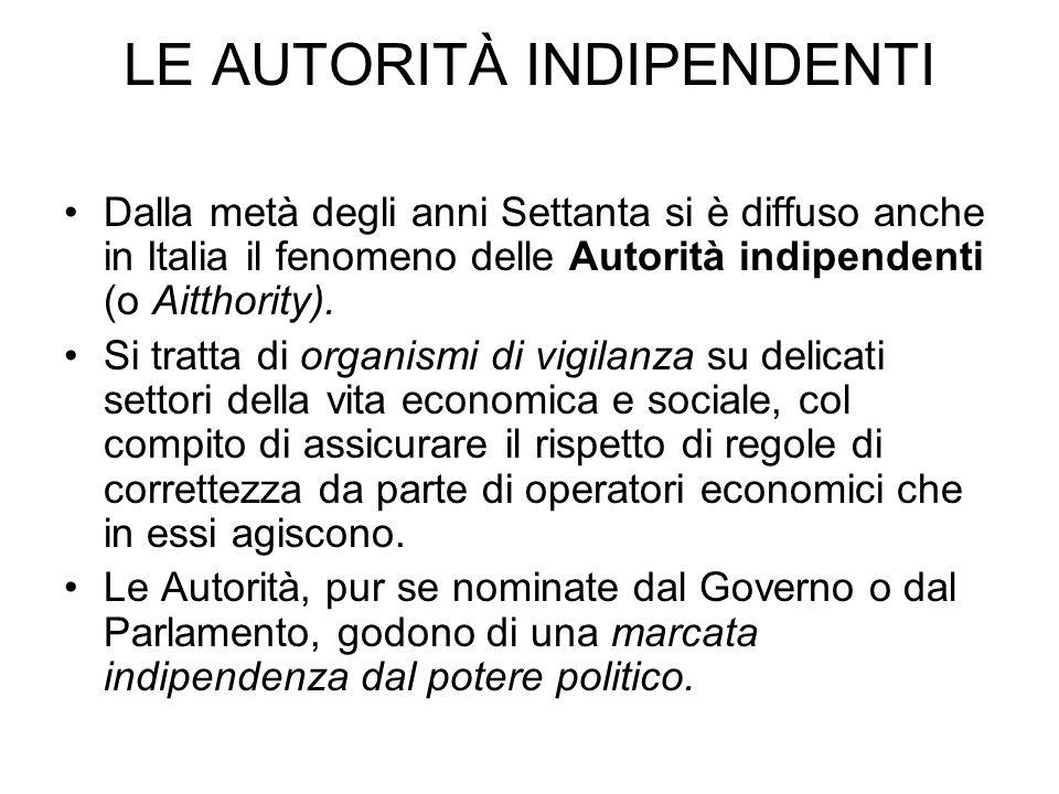 LE AUTORITÀ INDIPENDENTI Dalla metà degli anni Settanta si è diffuso anche in Italia il fenomeno delle Autorità indipendenti (o Aitthority). Si tratta