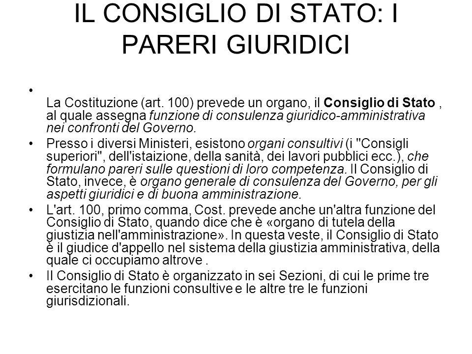 IL CONSIGLIO DI STATO: I PARERI GIURIDICI La Costituzione (art. 100) prevede un organo, il Consiglio di Stato, al quale assegna funzione di consulenza