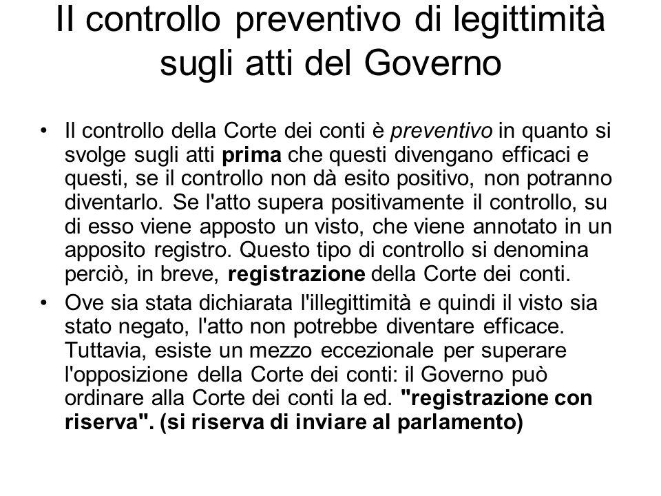 II controllo preventivo di legittimità sugli atti del Governo Il controllo della Corte dei conti è preventivo in quanto si svolge sugli atti prima che