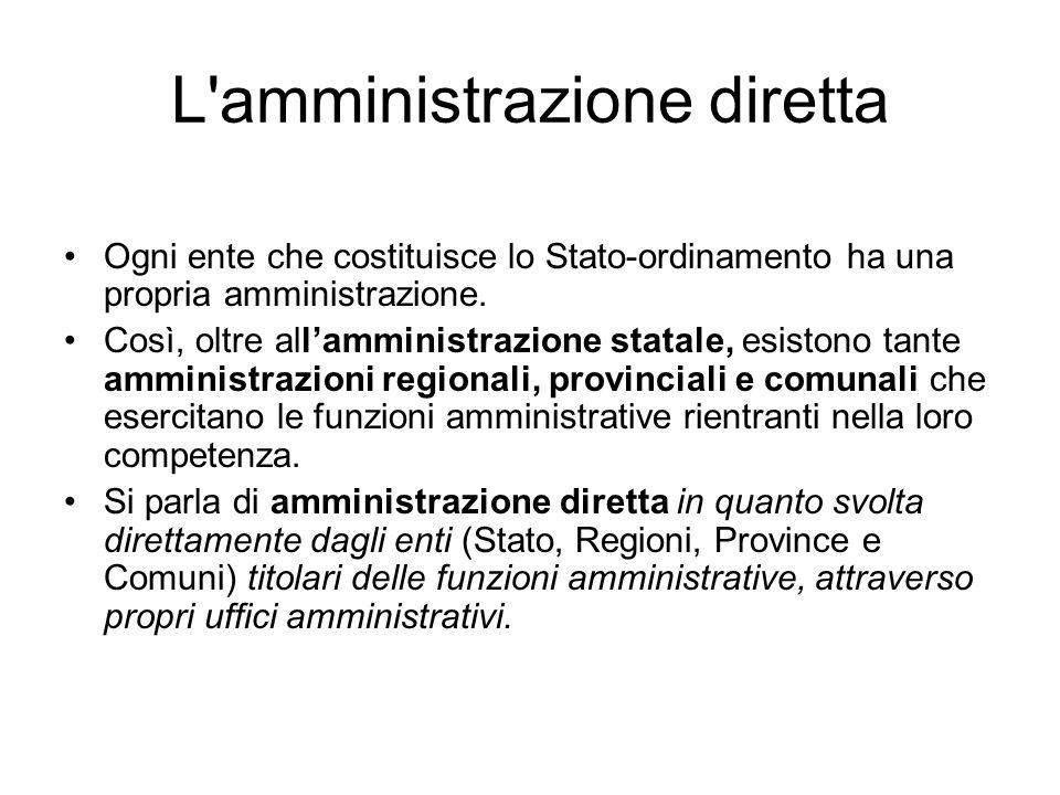 L'amministrazione diretta Ogni ente che costituisce lo Stato-ordinamento ha una propria amministrazione. Così, oltre allamministrazione statale, esist