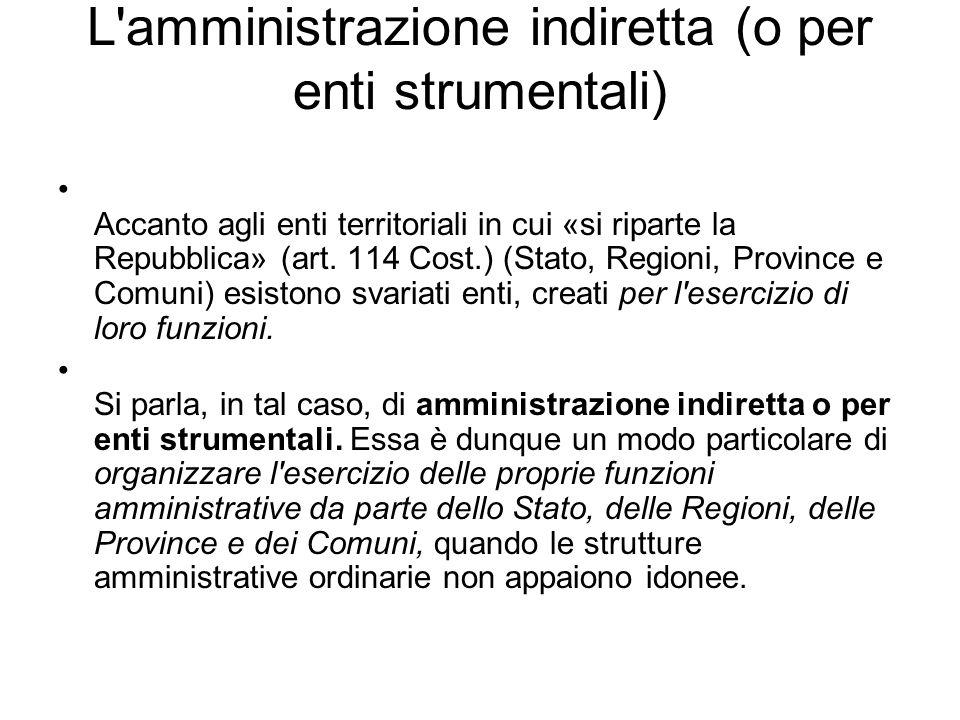 L'amministrazione indiretta (o per enti strumentali) Accanto agli enti territoriali in cui «si riparte la Repubblica» (art. 114 Cost.) (Stato, Regioni