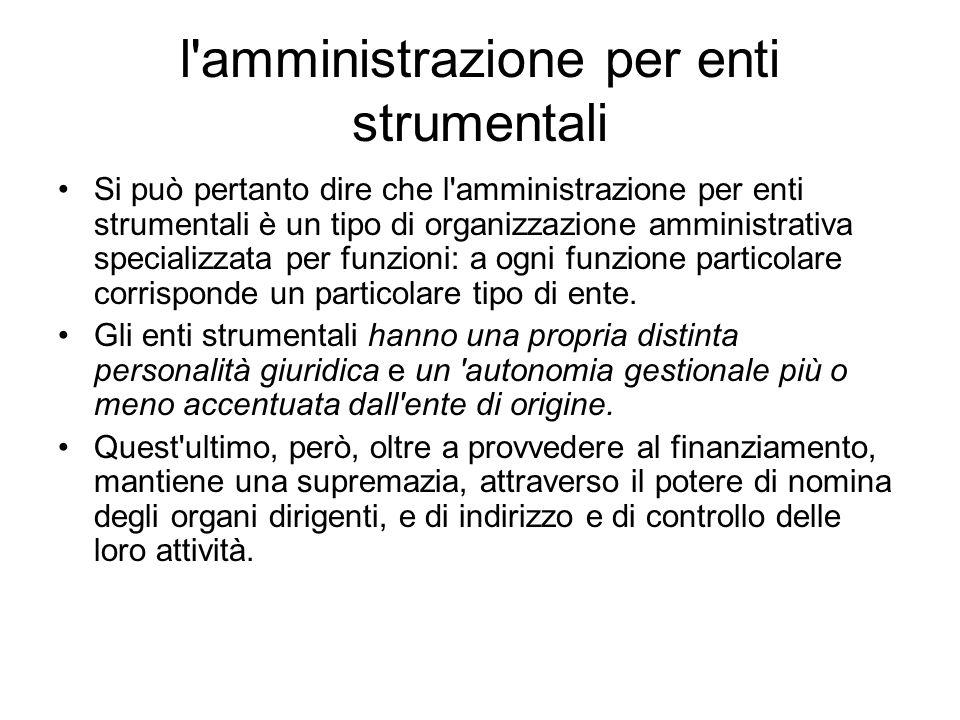 l'amministrazione per enti strumentali Si può pertanto dire che l'amministrazione per enti strumentali è un tipo di organizzazione amministrativa spec