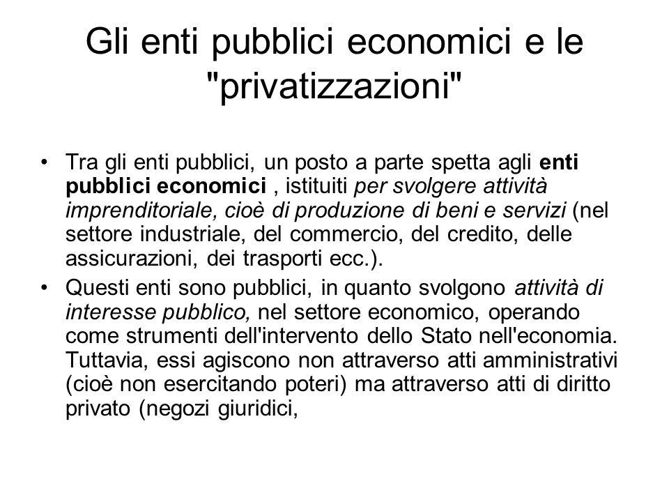 Gli enti pubblici economici e le