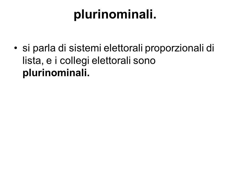 plurinominali. si parla di sistemi elettorali proporzionali di lista, e i collegi elettorali sono plurinominali.