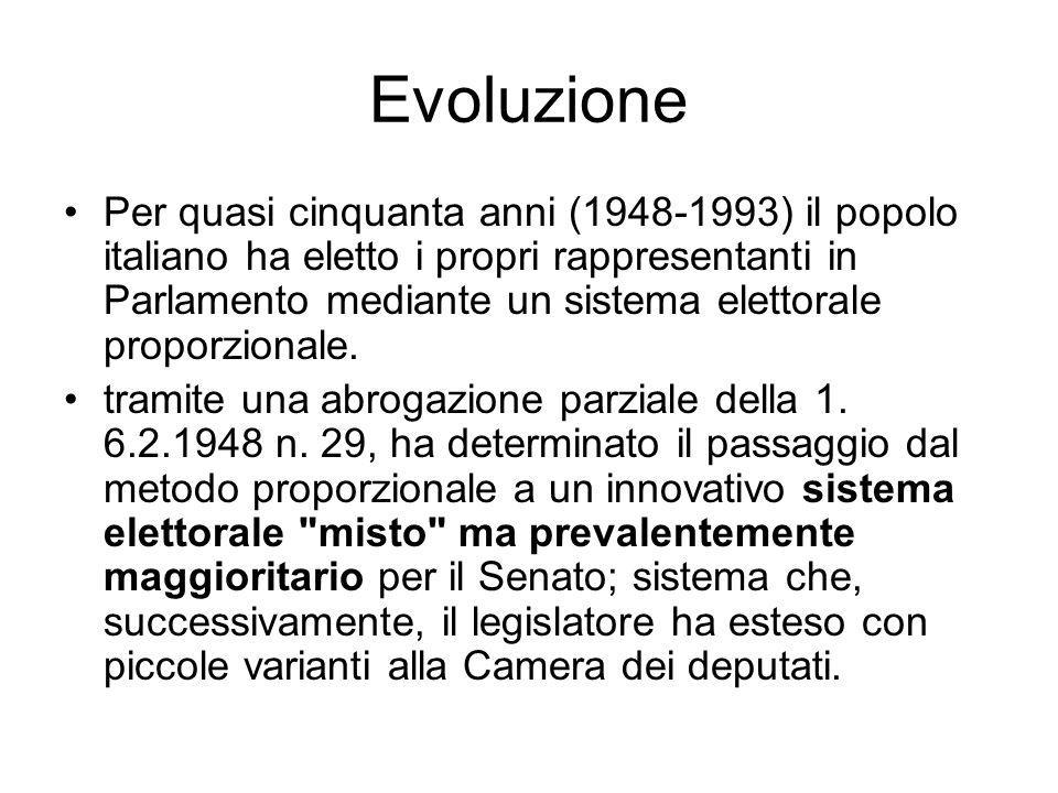 Evoluzione Per quasi cinquanta anni (1948-1993) il popolo italiano ha eletto i propri rappresentanti in Parlamento mediante un sistema elettorale proporzionale.