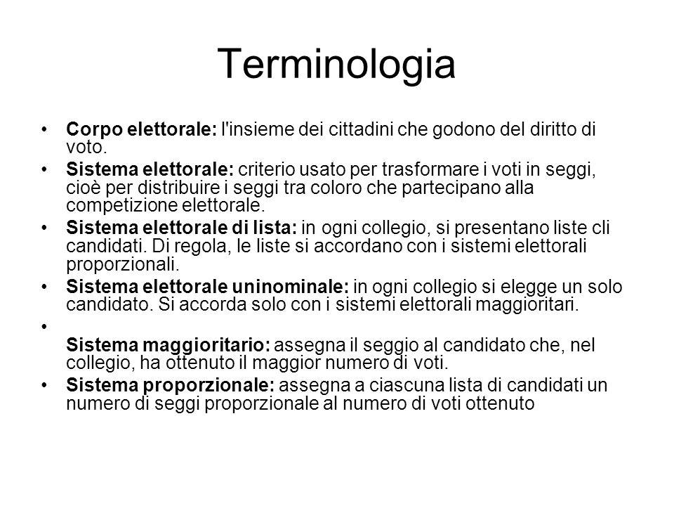 Terminologia Corpo elettorale: l'insieme dei cittadini che godono del diritto di voto. Sistema elettorale: criterio usato per trasformare i voti in s