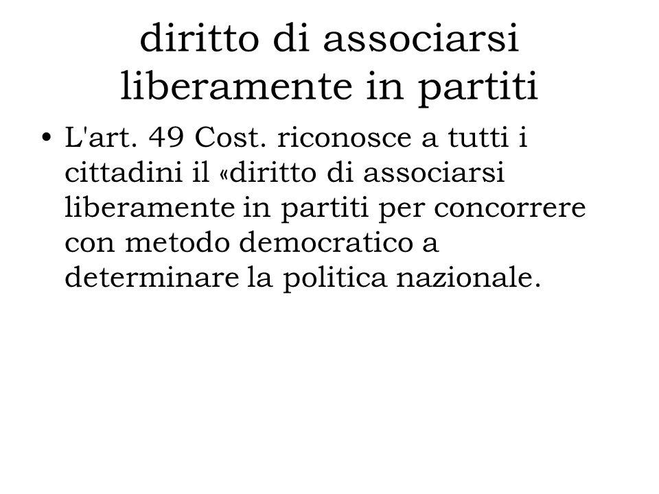 diritto di associarsi liberamente in partiti L'art. 49 Cost. riconosce a tutti i cittadini il «diritto di associarsi liberamente in partiti per concor