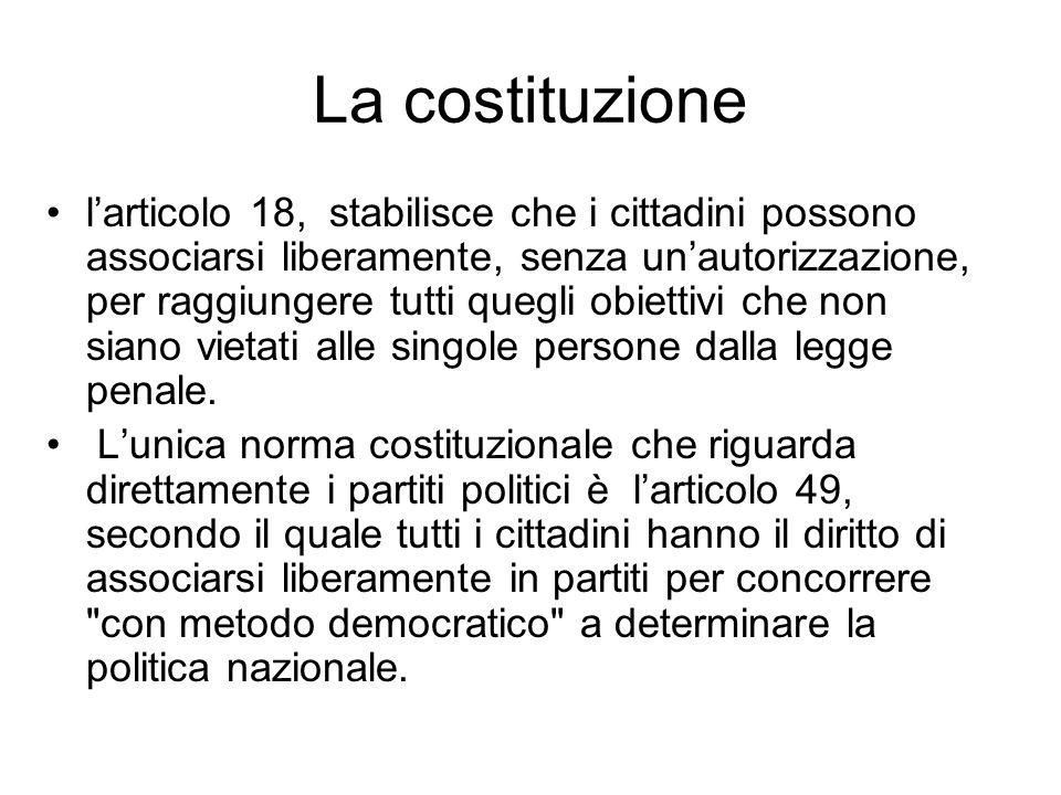 La costituzione larticolo 18, stabilisce che i cittadini possono associarsi liberamente, senza unautorizzazione, per raggiungere tutti quegli obiettiv