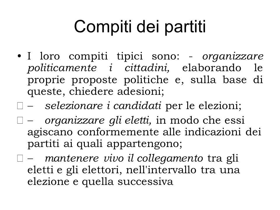 Compiti dei partiti I loro compiti tipici sono: - organizzare politicamente i cittadini, elaborando le proprie proposte politiche e, sulla base di que