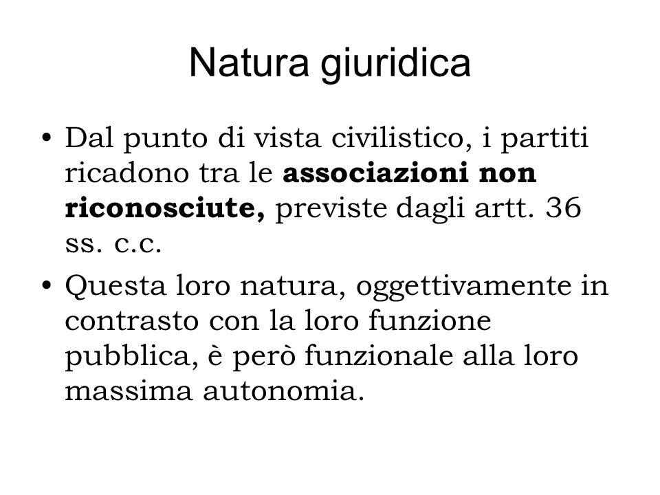 Natura giuridica Dal punto di vista civilistico, i partiti ricadono tra le associazioni non riconosciute, previste dagli artt. 36 ss. c.c. Questa loro