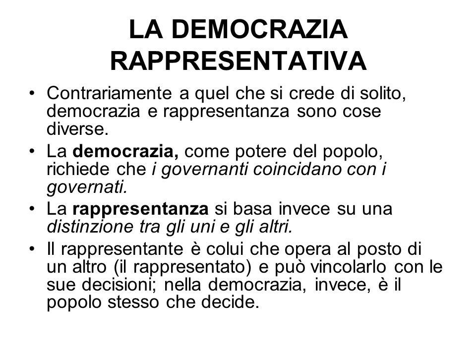 Contrariamente a quel che si crede di solito, democrazia e rappresentanza sono cose diverse. La democrazia, come potere del popolo, richiede che i gov