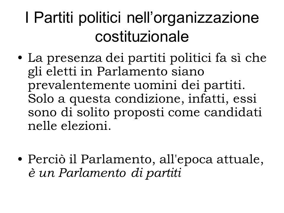 I Partiti politici nellorganizzazione costituzionale La presenza dei partiti politici fa sì che gli eletti in Parlamento siano prevalentemente uomini dei partiti.