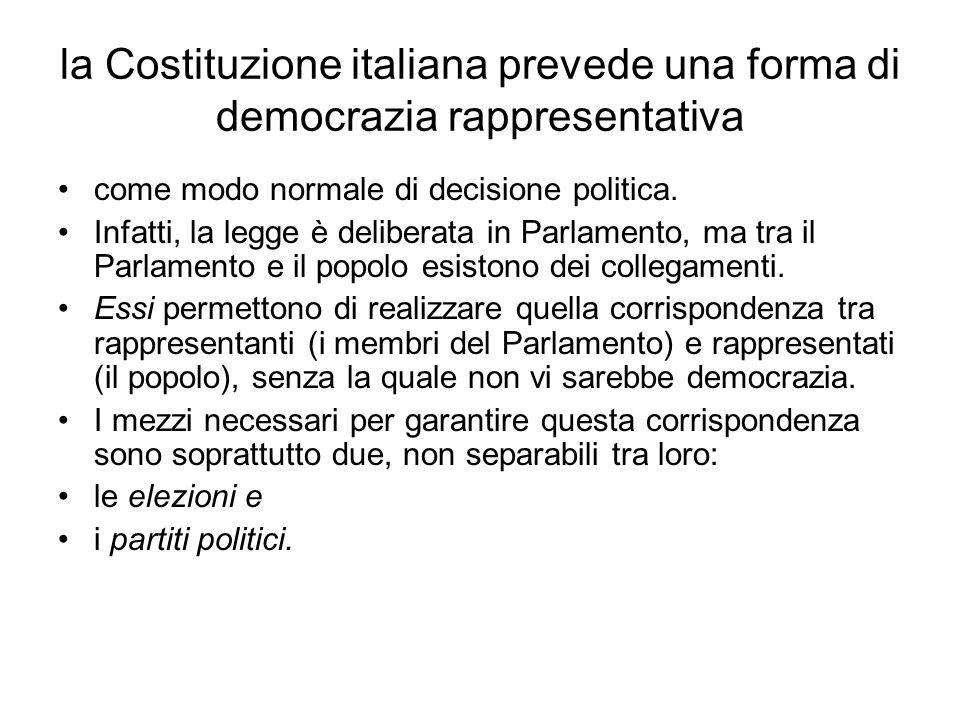 la Costituzione italiana prevede una forma di democrazia rappresentativa come modo normale di decisione politica. Infatti, la legge è deliberata in Pa